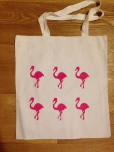 homemade flamingo print bag