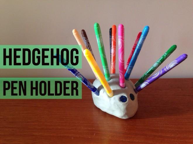 kids craft pen holder, how to make a pen holder, clay hedgehog pen holder
