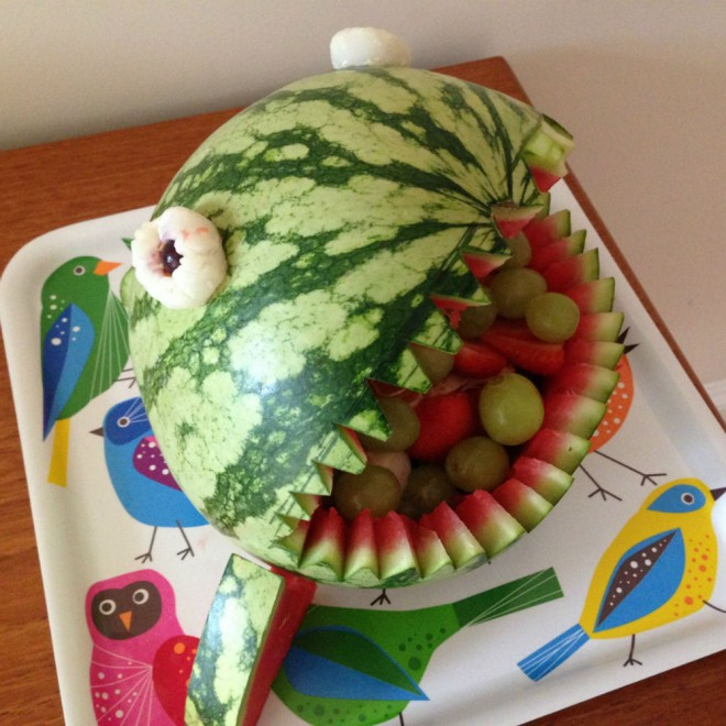 watermelon shark, kids party food, healthy kids party food, kids party food fruit, under the sea party food