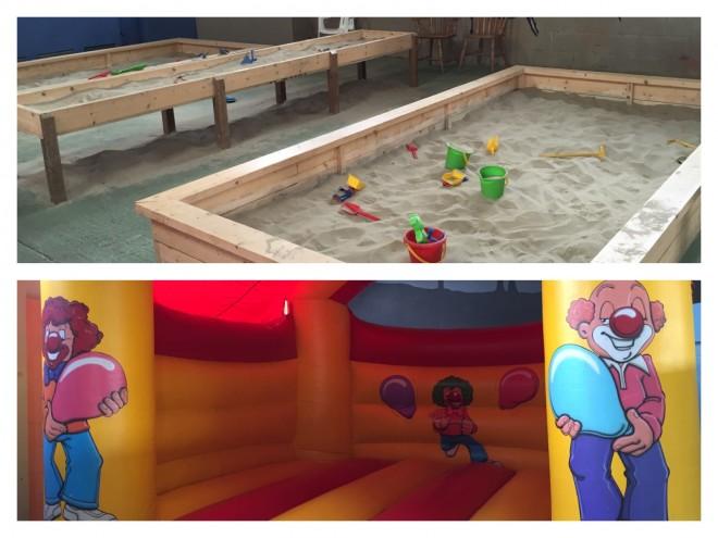 indoors, kids, bouncy castle, green dragon