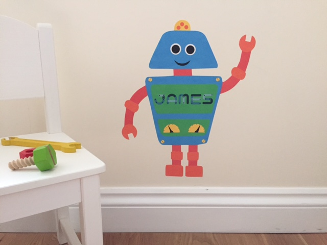 robot wall sticker, robot wall decal, customised wall sticker, nursery decor, kids room decor