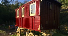 wrigglesbrook gypsy caravan b and b, gypsy wagon rental, wye valley gypsy caravan, unusual places to stay with kids