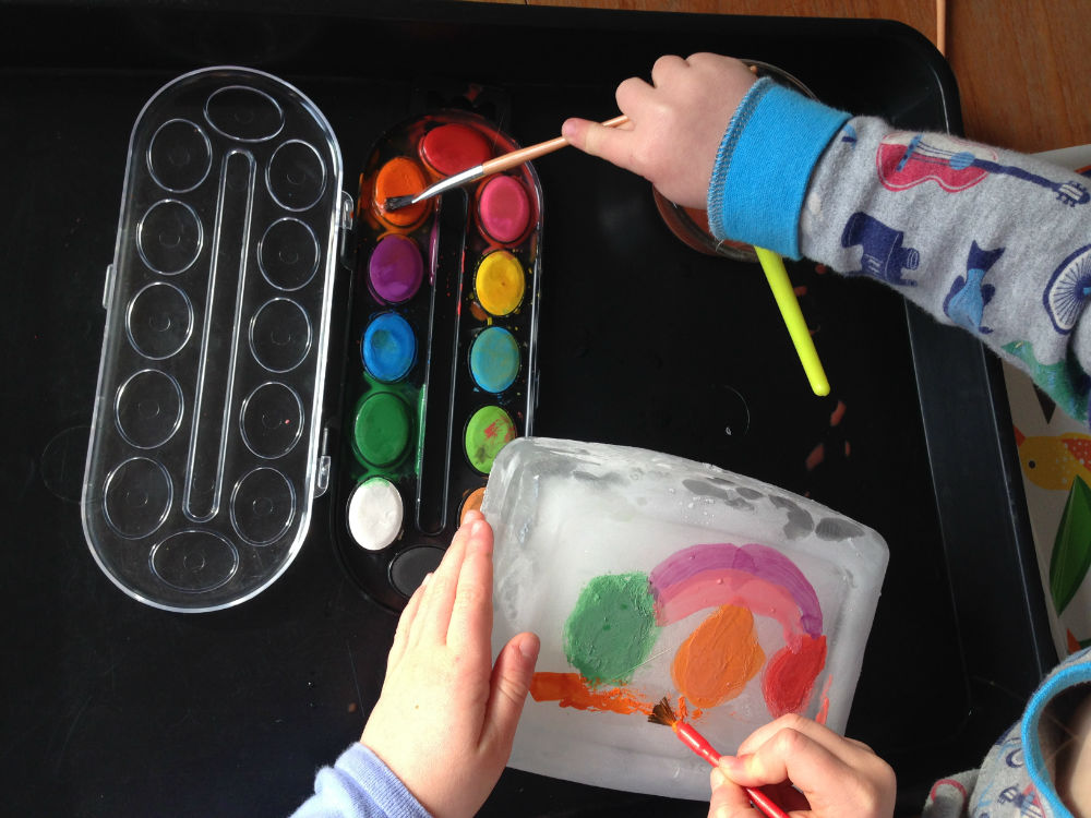 Ice Painting Summer Craft On Blocks Kids