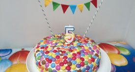 smartie birthday cake, easy birthday cake, circus theme party