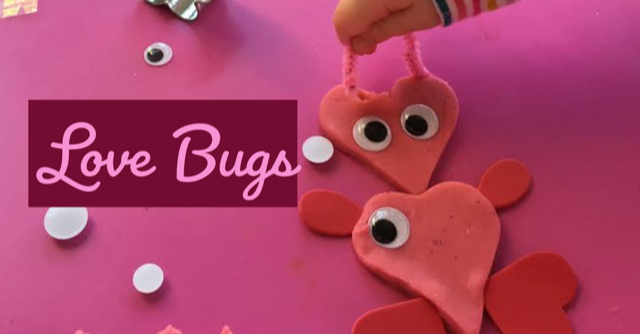 love bugs, valentine play dough, valentine toddler craft