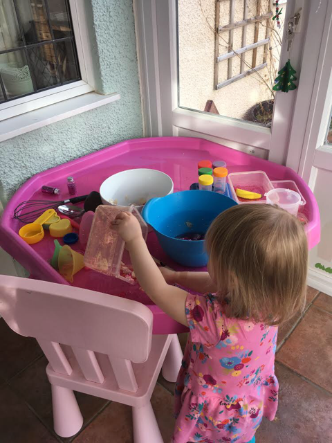 valentines theme toddler messy play